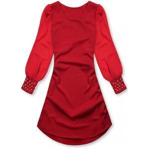 Butikmoda Piros színű elegáns A-vonalú ruha kép