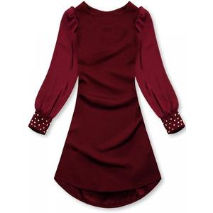 Butikmoda Bordó színű elegáns A-vonalú ruha kép
