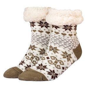 Csillagmintás téli zokni - barna - Méretet 35-42 kép