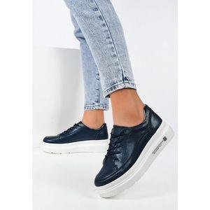 Luziana tengerészkék telitalpú sneakers kép