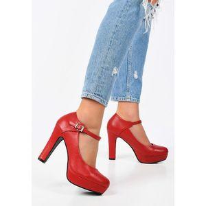 Yoriara piros magassarkú cipők kép