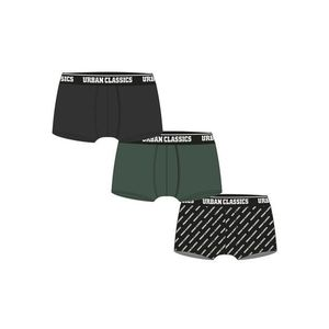 Urban Classics Boxer Shorts 3-Pack darkgreen+black+branded aop kép