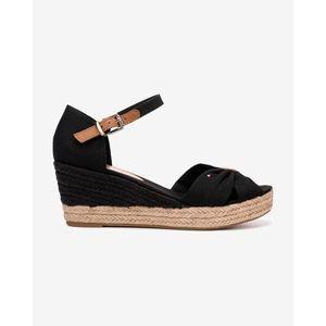 Tommy Hilfiger Basic Opened Toe Mid Wedge Telitalpú cipő Fekete kép
