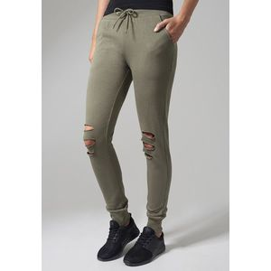 Urban Classics Ladies Cutted Terry Pants olive kép