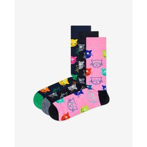 Happy Socks Cat Gift Box Zokni 3 pár Fekete Kék Rózsaszín kép