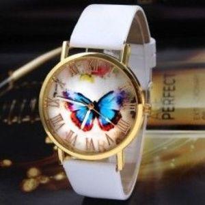 fehér - Divat női alkalmi pillangó órák bőr analóg kvarc ruha karóra kép