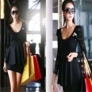 1 db Klasszikus női Modal hosszú laza A méret alsó mellény Top Blúzruha fekete csipke ruha elegáns kép