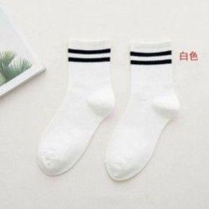 fehér - Unisex női pamut csíkos zokni puha szilárd rövid sport alkalmi harisnyanadrág kép