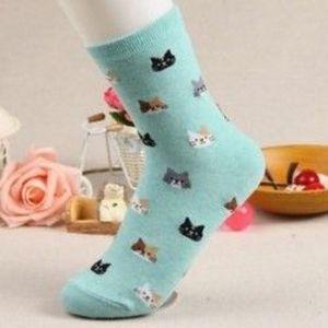 Kék Divat női alkalmi sport macska állat puha rajzfilm pamut meleg téli zokni kép
