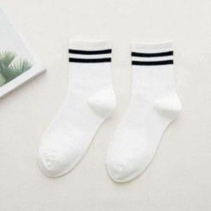 fehér - Divat női pamut csíkos zokni puha aranyos szilárd rövid sport alkalmi harisnya kép
