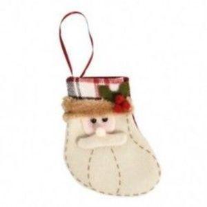 1db 10x12cm-es Felakasztható Karácsonyi zokni - Mikulás mintás - Karácsonyi dekoráció - 8 kép