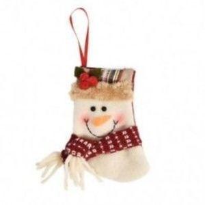 1db 10x12cm-es Felakasztható Karácsonyi zokni - Hóember mintás - Karácsonyi dekoráció - 8 kép