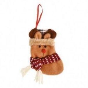 1db 10x12cm-es Felakasztható Karácsonyi zokni - Rénszarvas mintás - Karácsonyi dekoráció - 8 kép