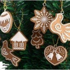 7db Mézeskalácsos sütemény mintás dísz - Karácsonyi dekoráció kép