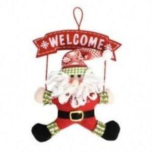 1db 20x20cm-es Télapó - Mikulás üdvözlő felirattal Karácsonyi ajtódísz - Ünnepi dísz - Karácsonyi dekoráció - 9 kép